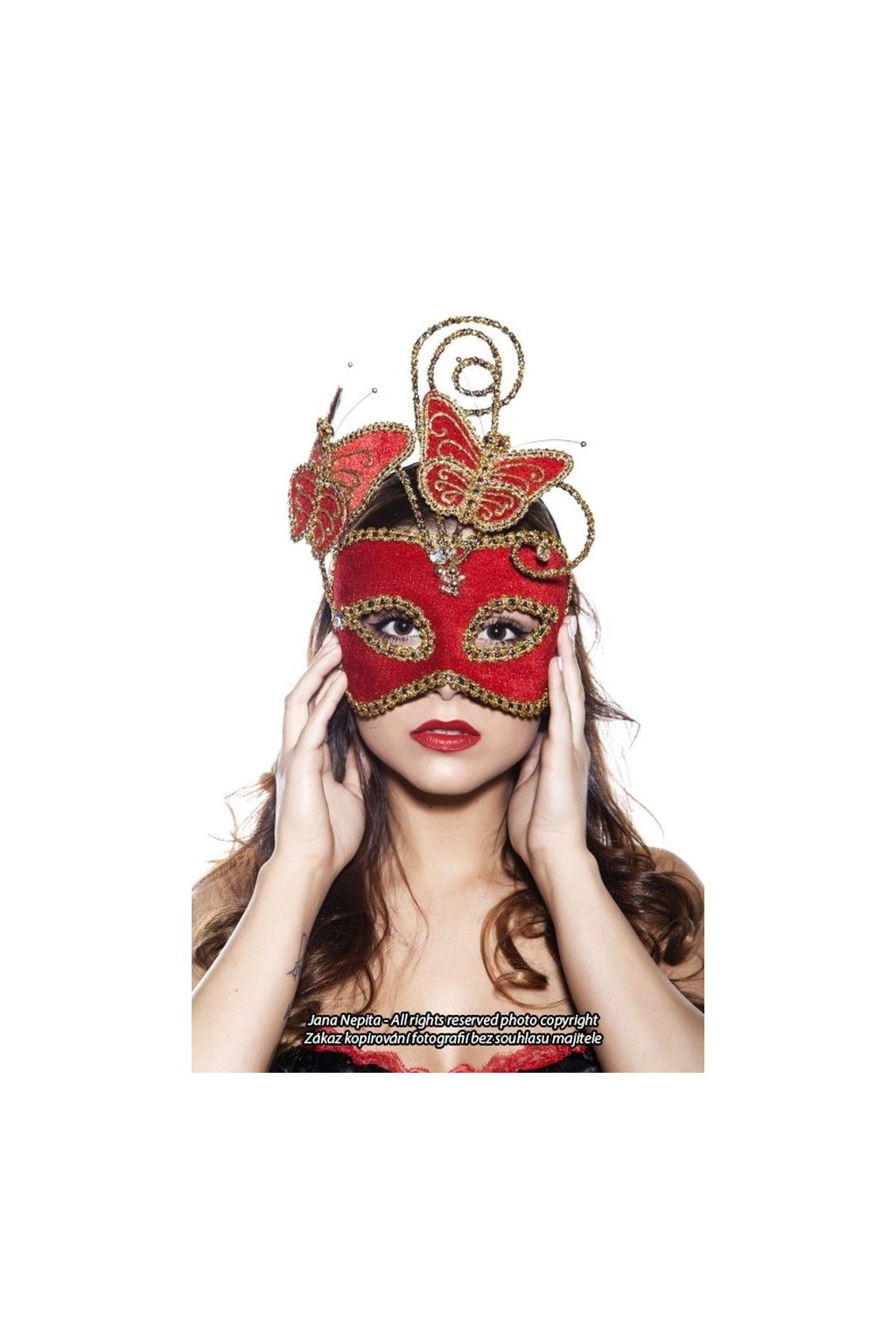 Maska motýl - červený