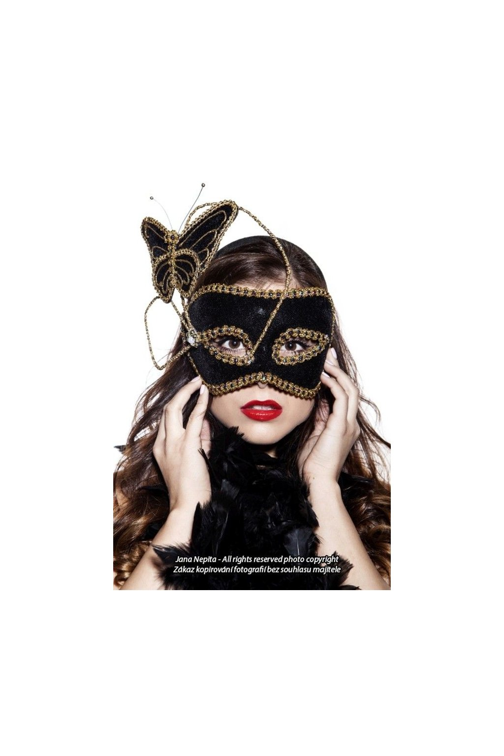 Maska motýl - černý