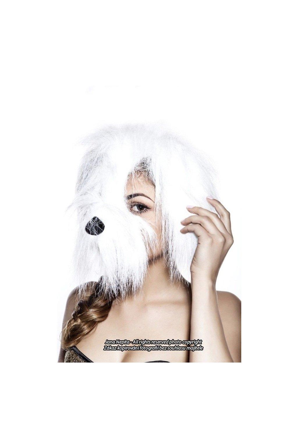 Maska bílého psa se zvukem