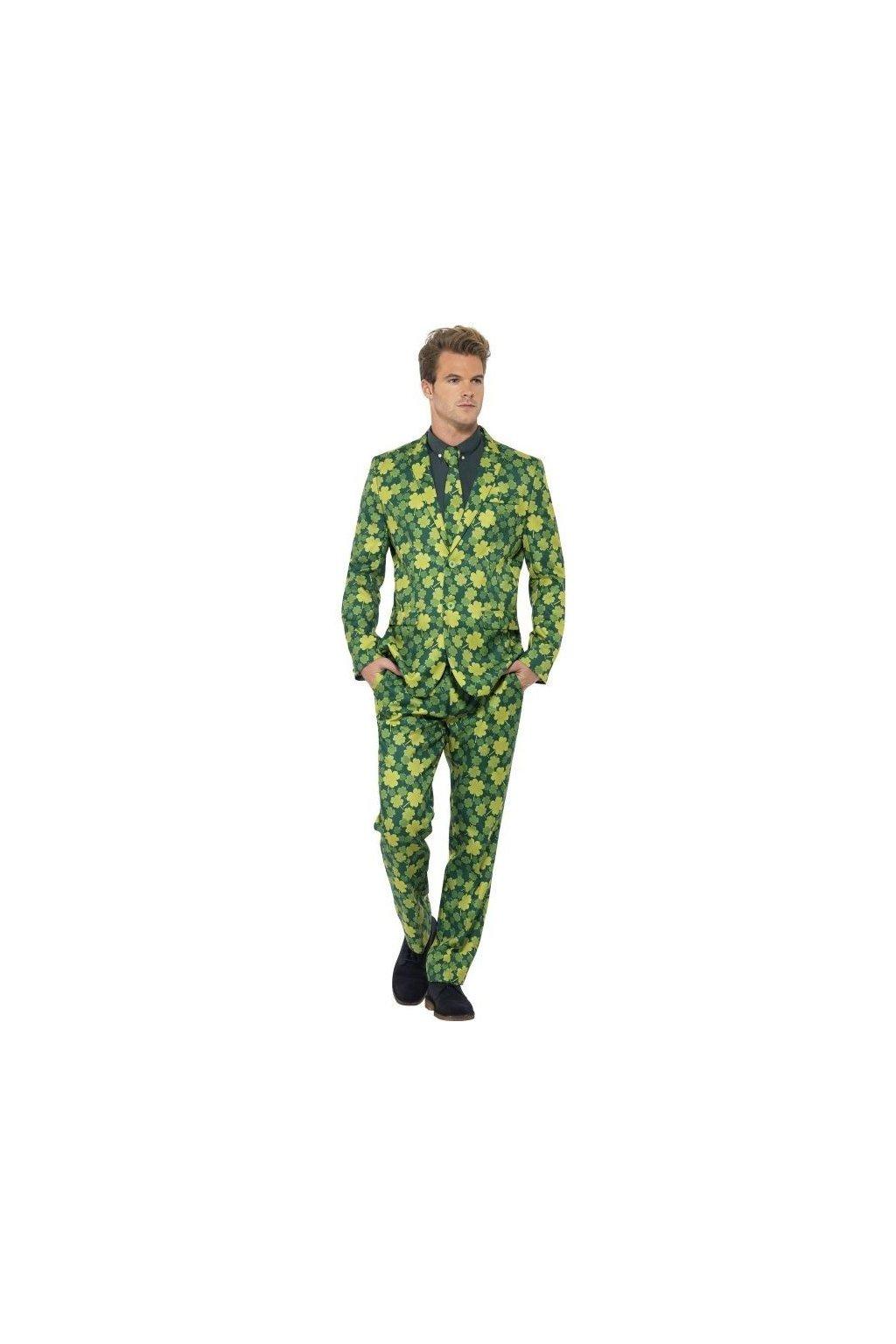 Zelený pánský oblek čtyřlístky