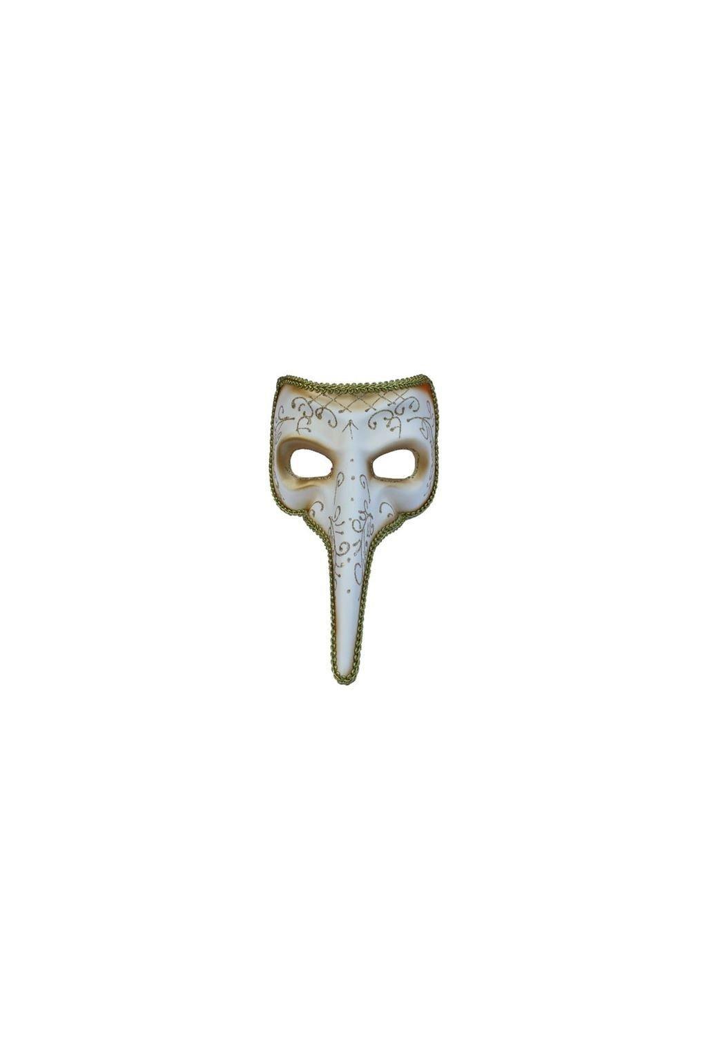 Benátská maska dlouhý nos - světlá - výprodej
