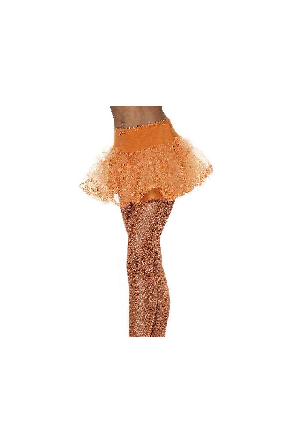 Oranžová sukně s krajkou