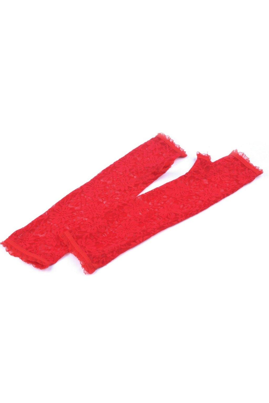 Krajkové rukavice červené bez prstů dlouhé