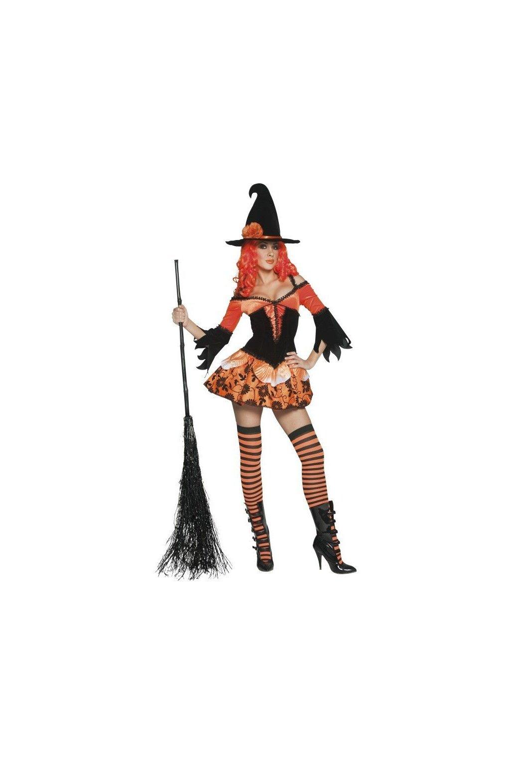 Oranžový kostým čarodějky