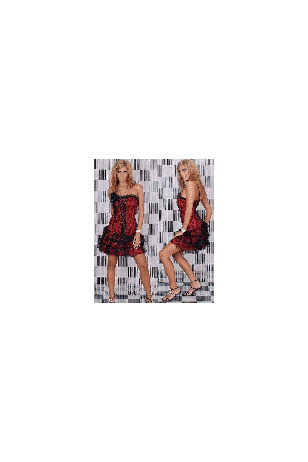 Korzetové šaty s krajkou červené
