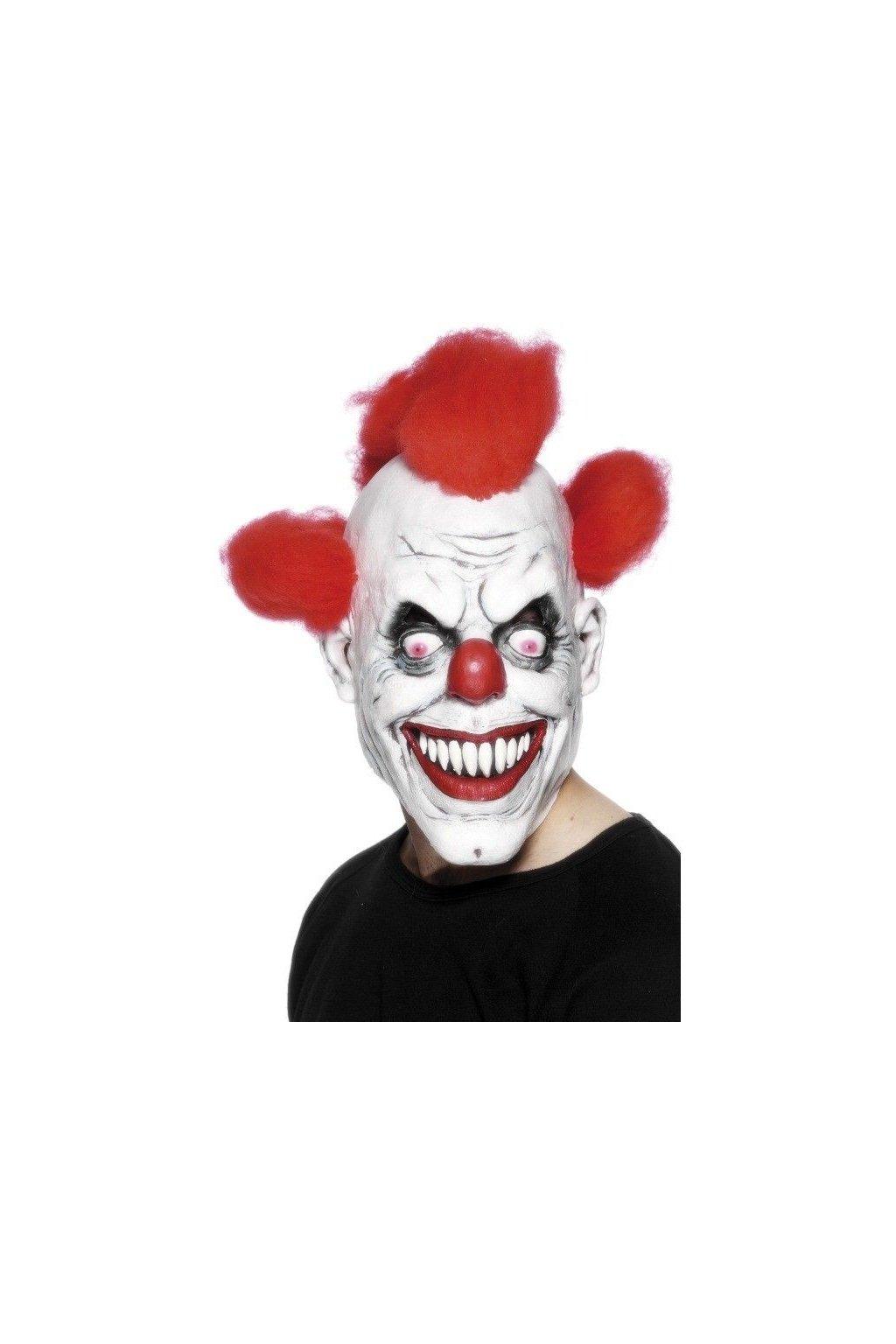 Maska klaun bíla s červenými vlasy