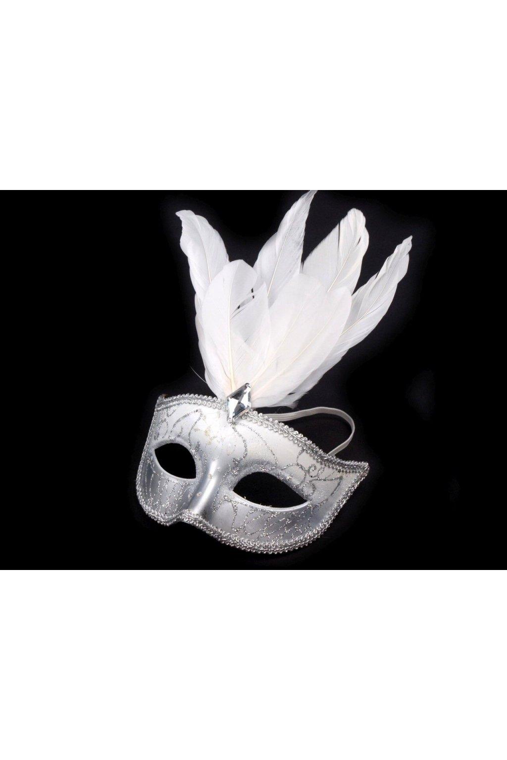 Karnevalová maska s peřím bílá