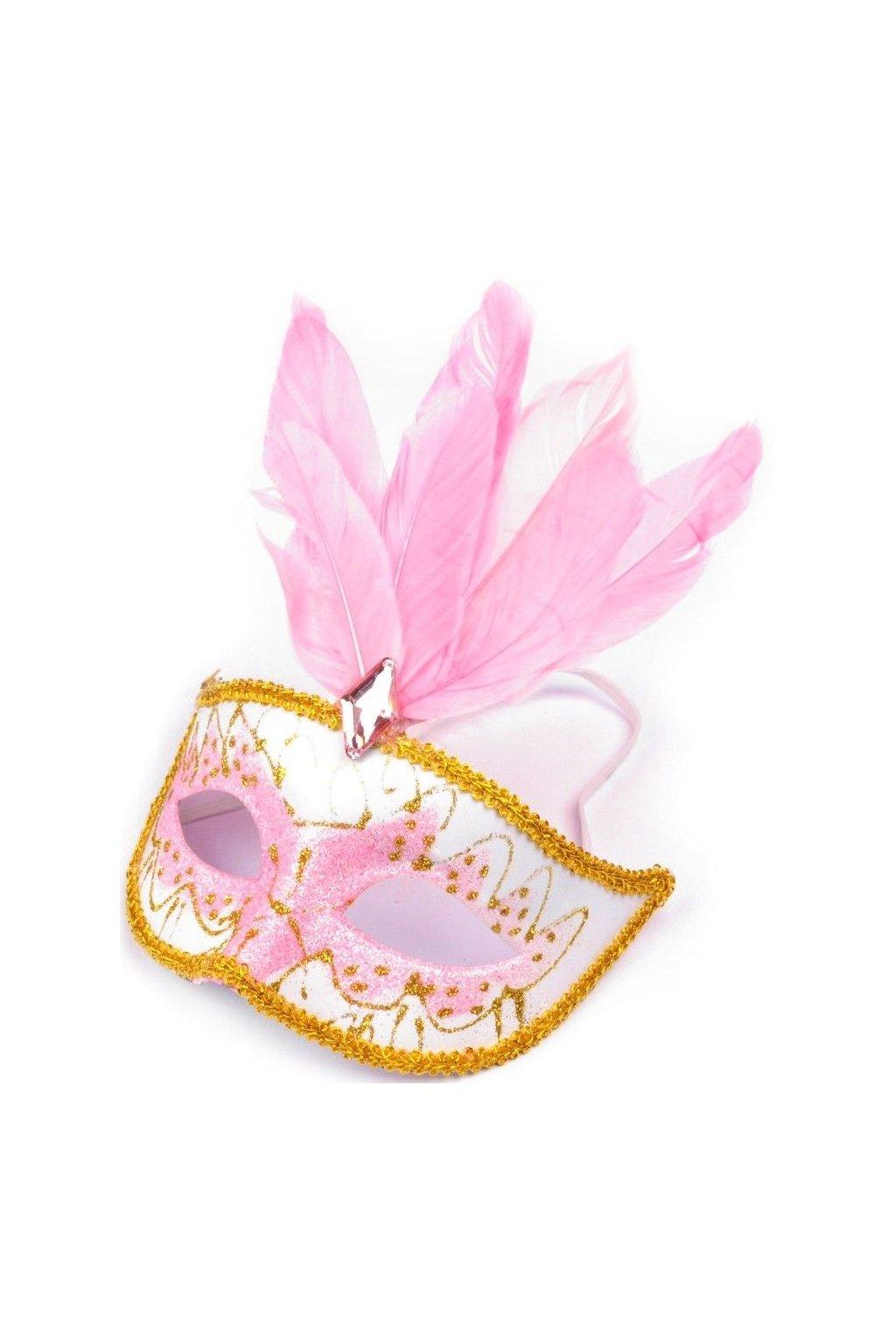 Karnevalová maska s peřím růžová