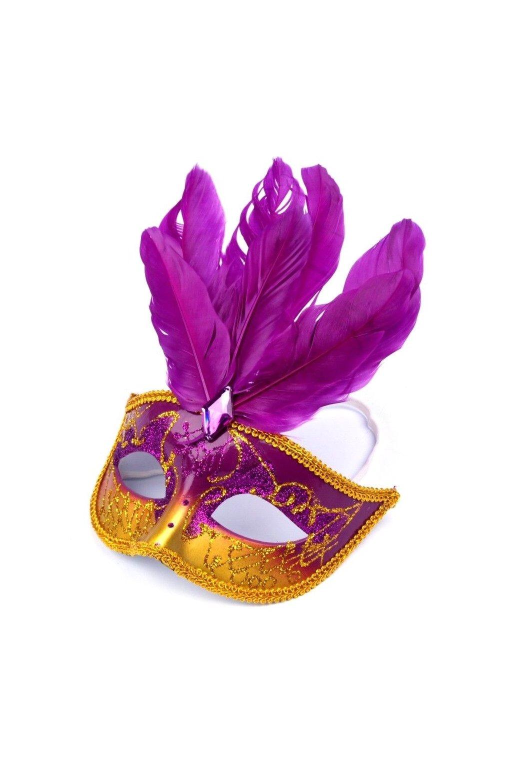 Karnevalová maska s peřím fialová