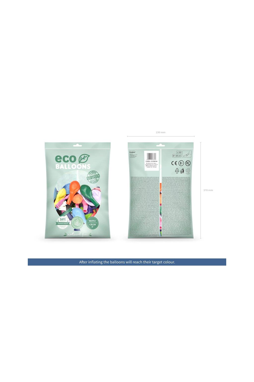 Nafukovací balónek - mix metalických barev - 27cm - 100ks