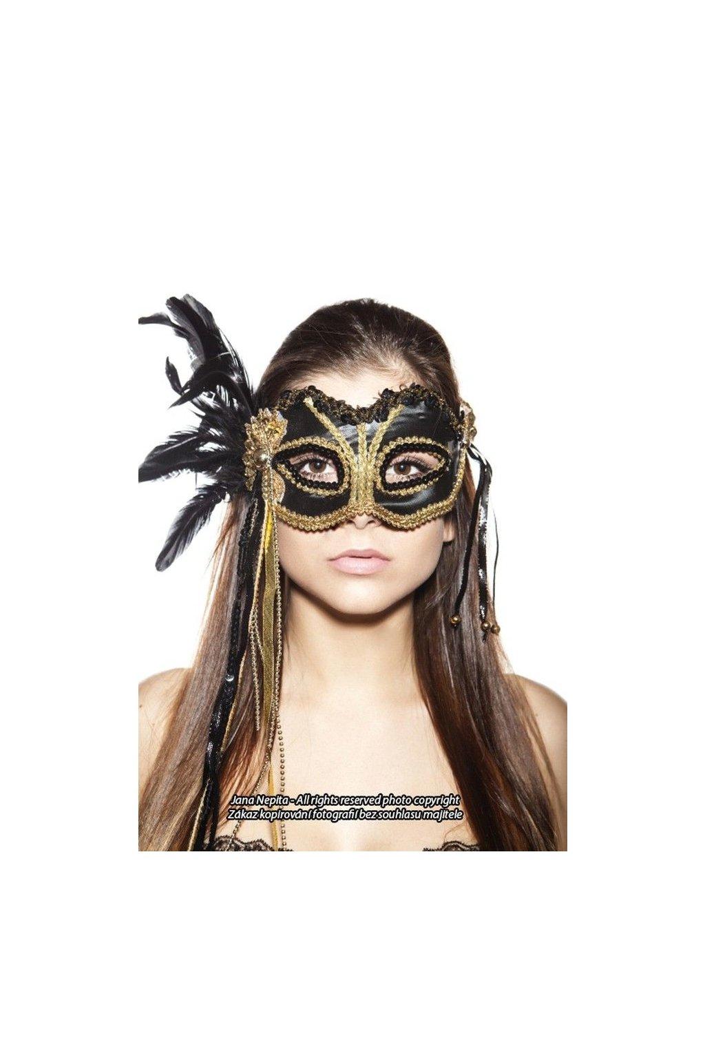Černozlatá luxusní maska