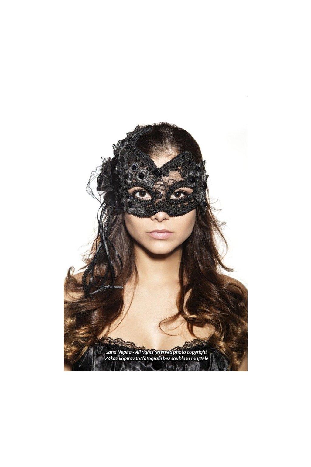 Krajková transparentní karnevalová maska