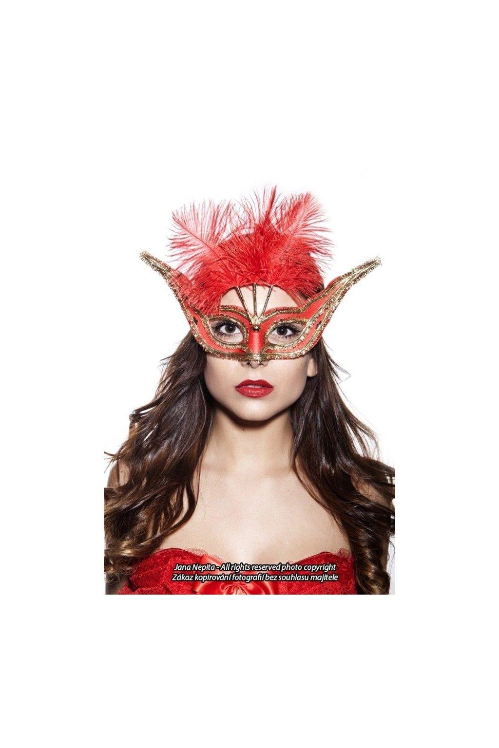 Červená maska s peřím