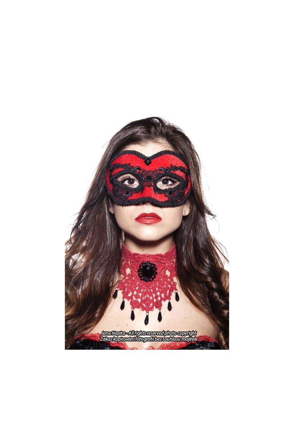 Plesová maska s krajkou - červená
