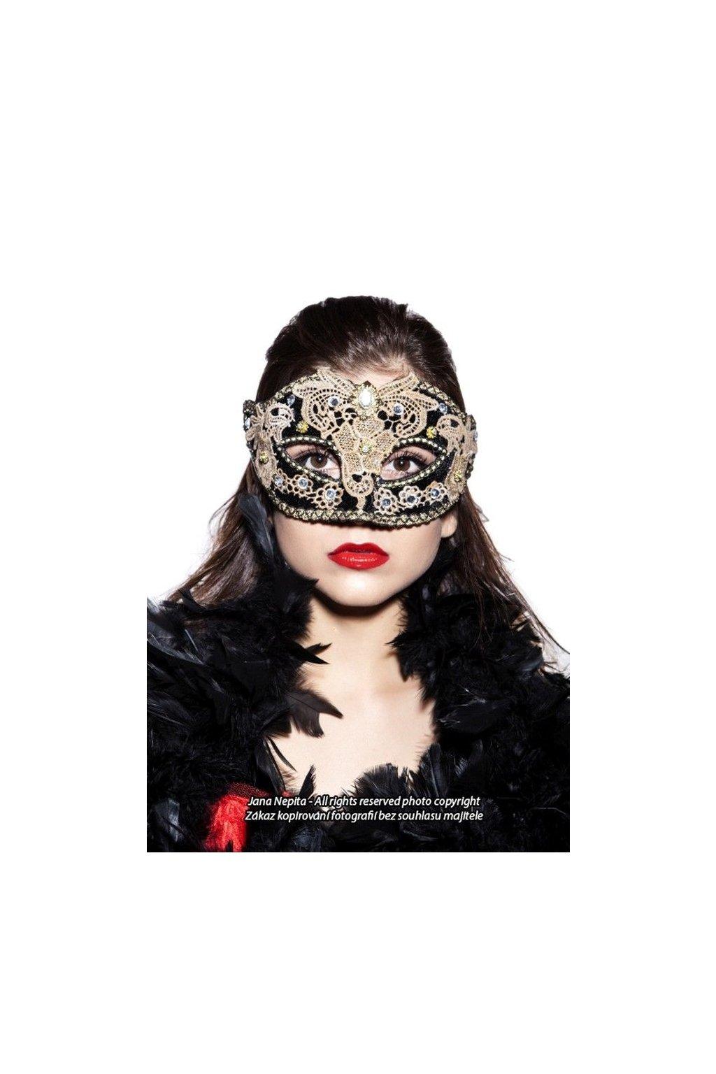 Plesová maska - černá dáma