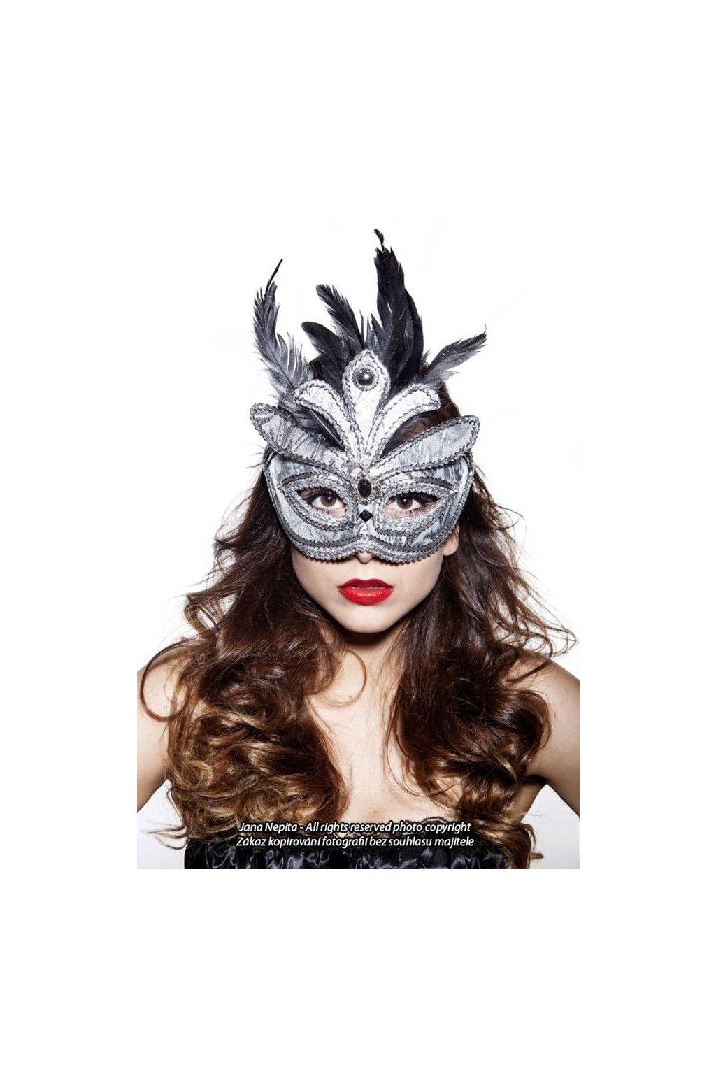 Plesová maska - stříbrná