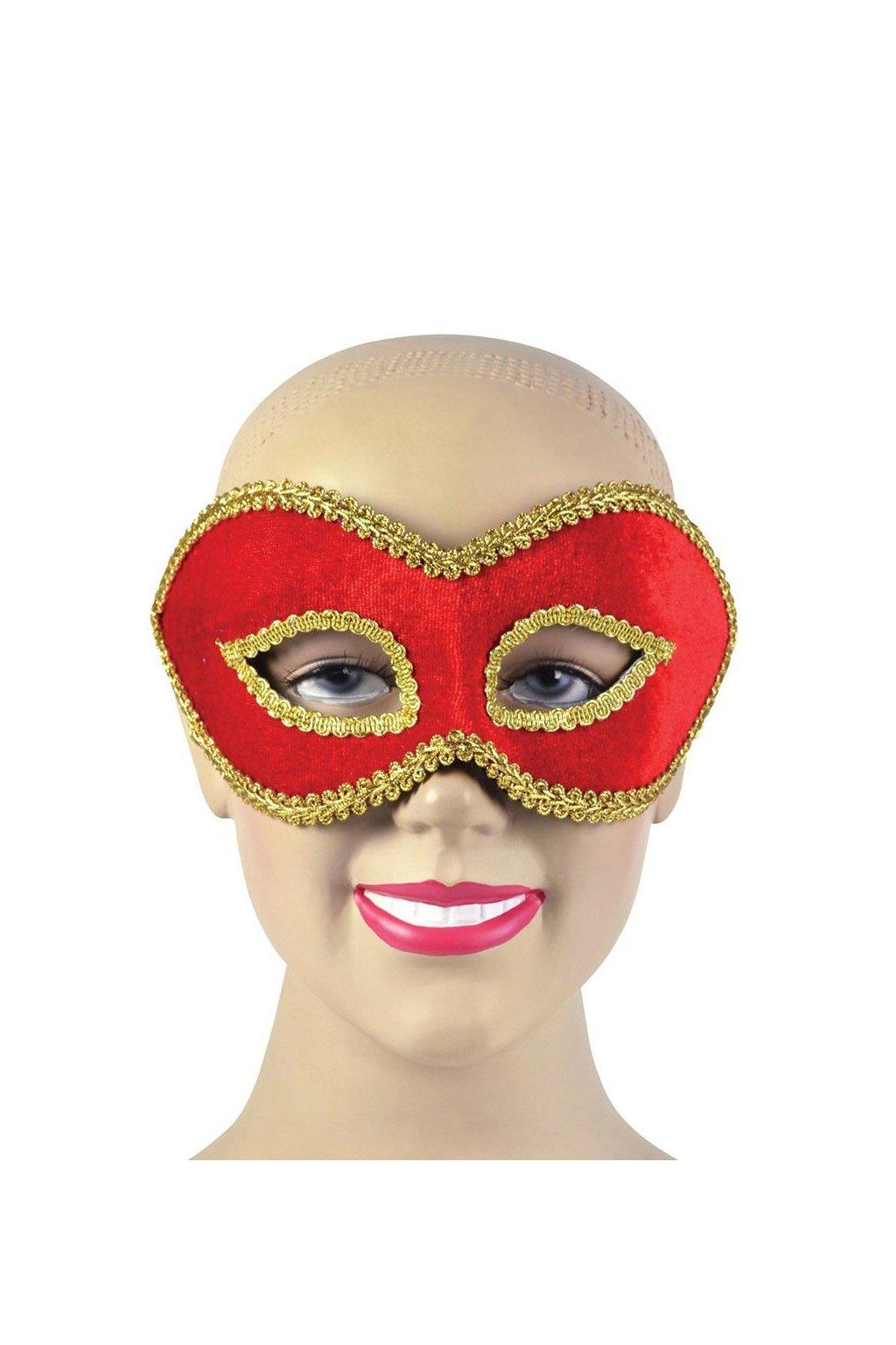 Sametová maska - červená