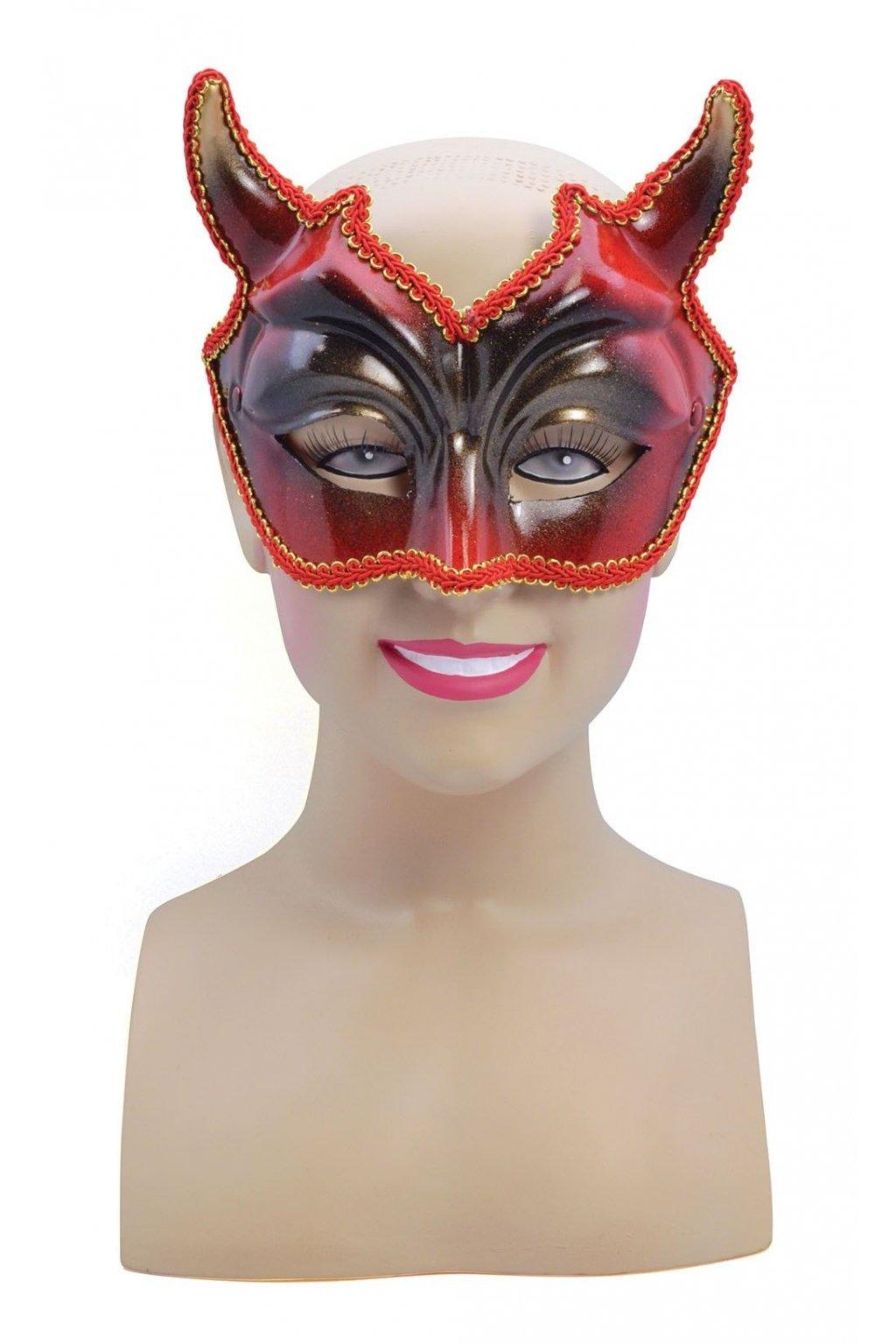 Čertovská maska s rohy