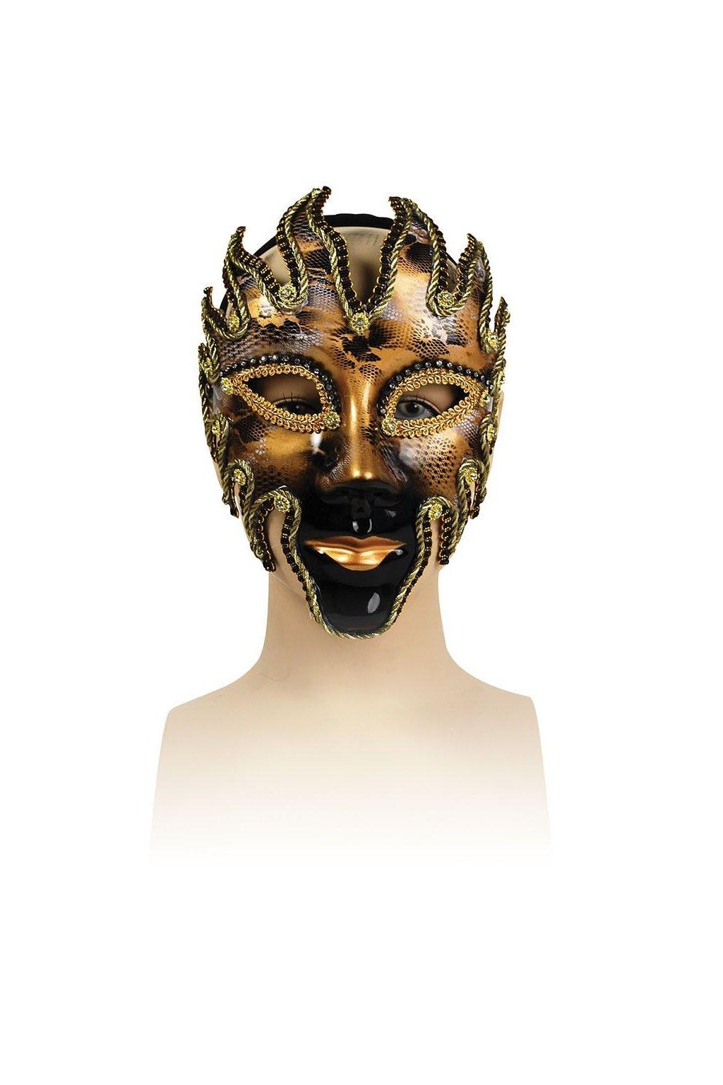 Benátská maska - černozlatý plamen - výprodej