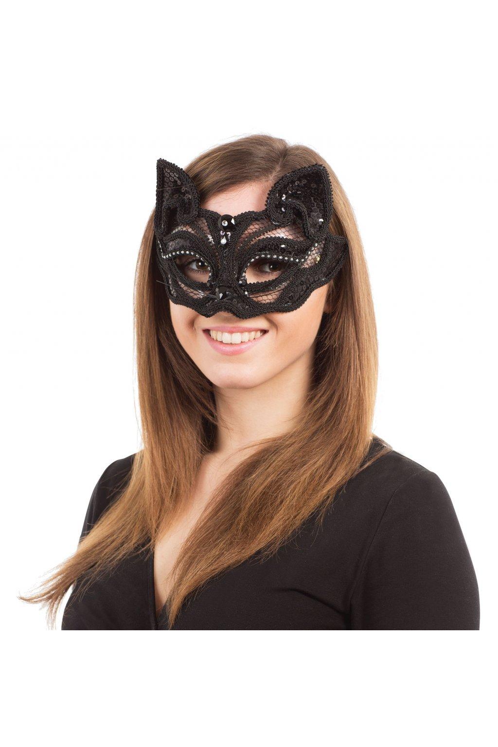 Kočičí krajková maska - transparent
