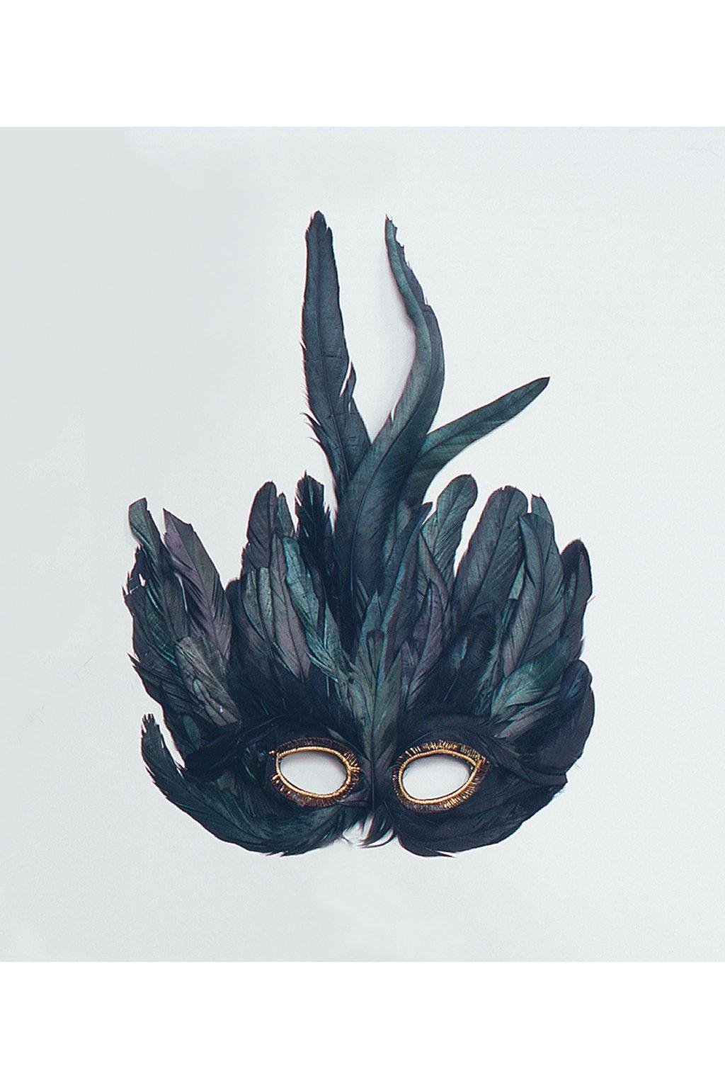 Maska s peřím černá