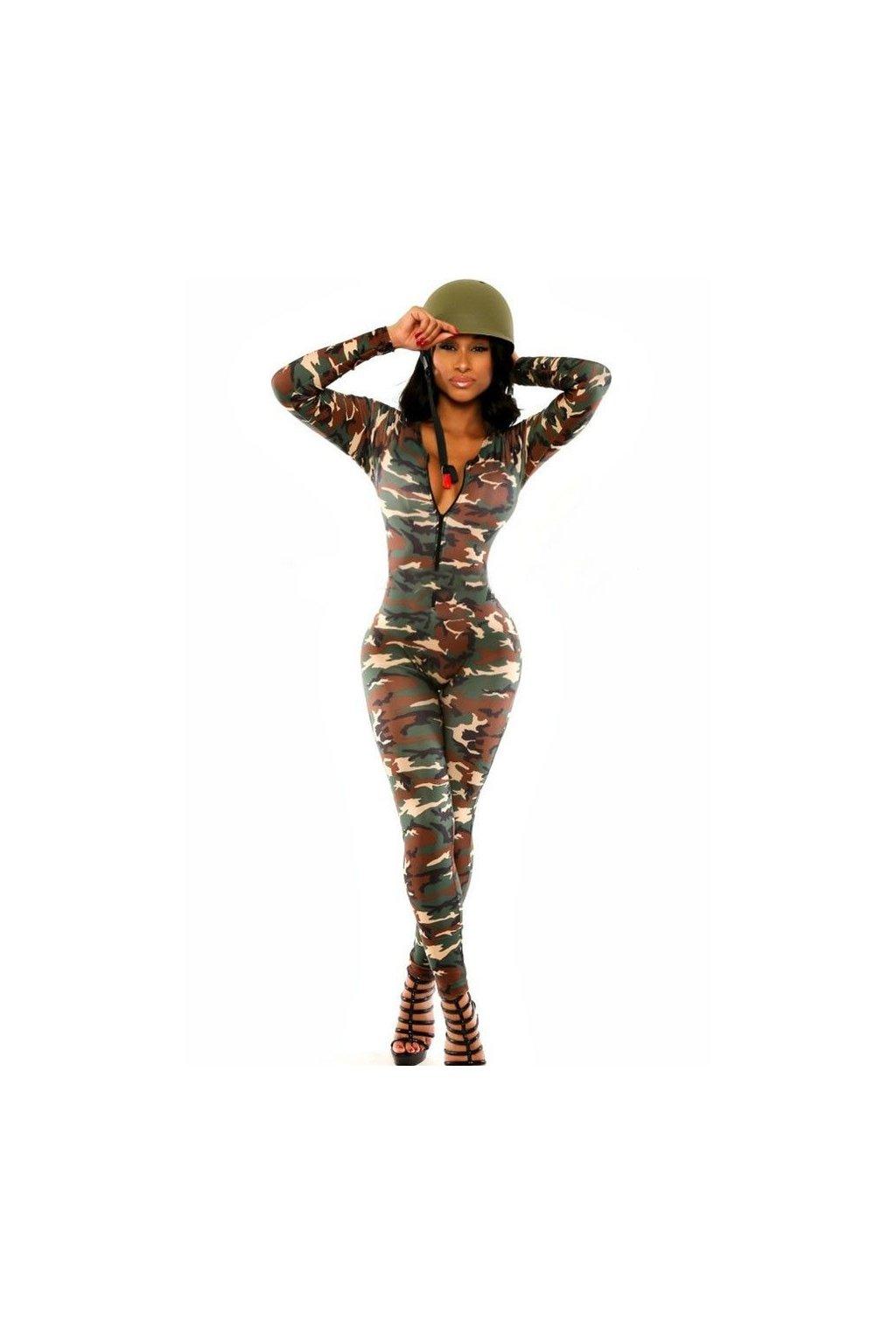 Dámský kostým sexy vojačky - catsuit