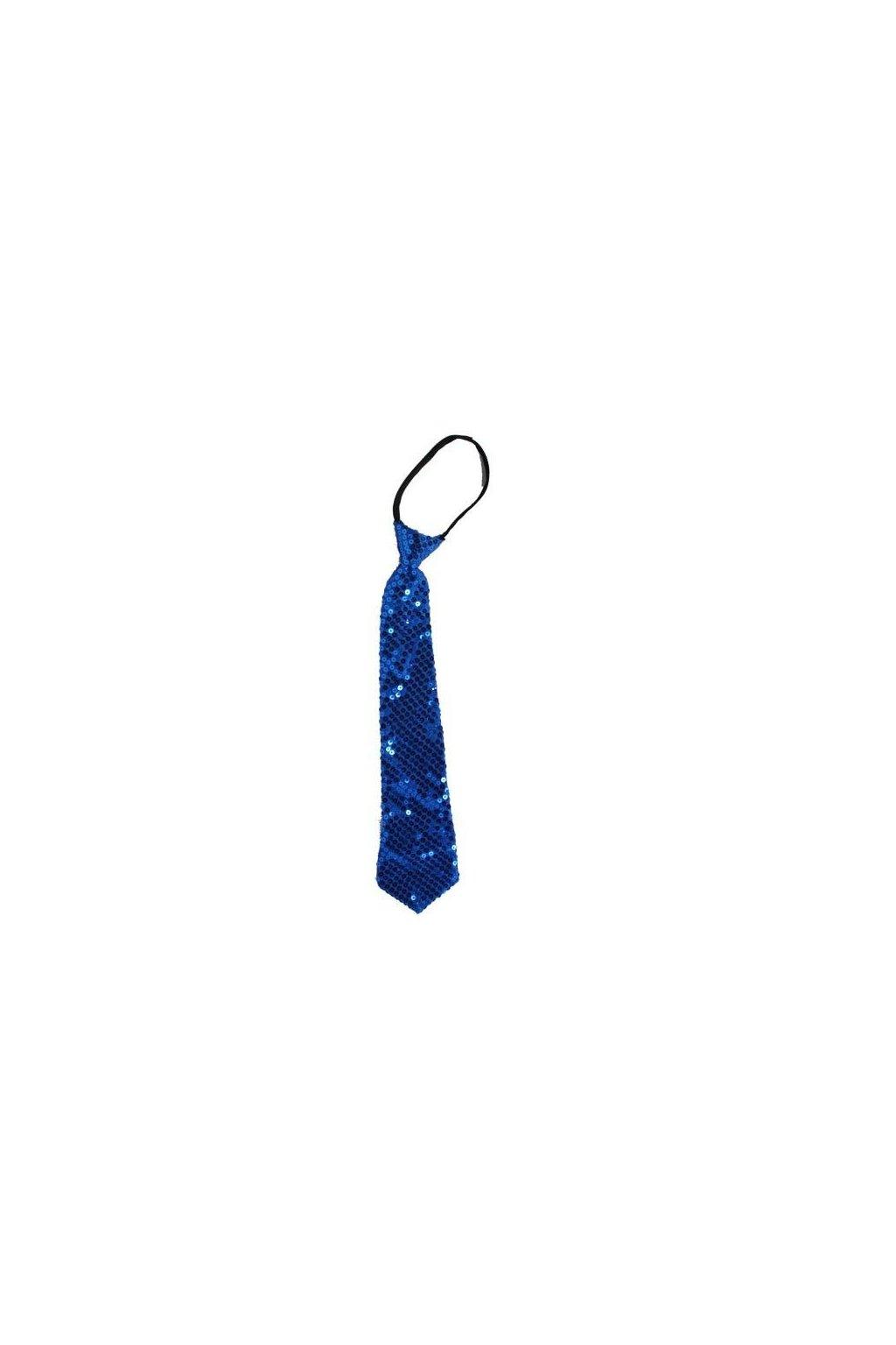 Luxusní flitrovaná kravata - MODRÁ