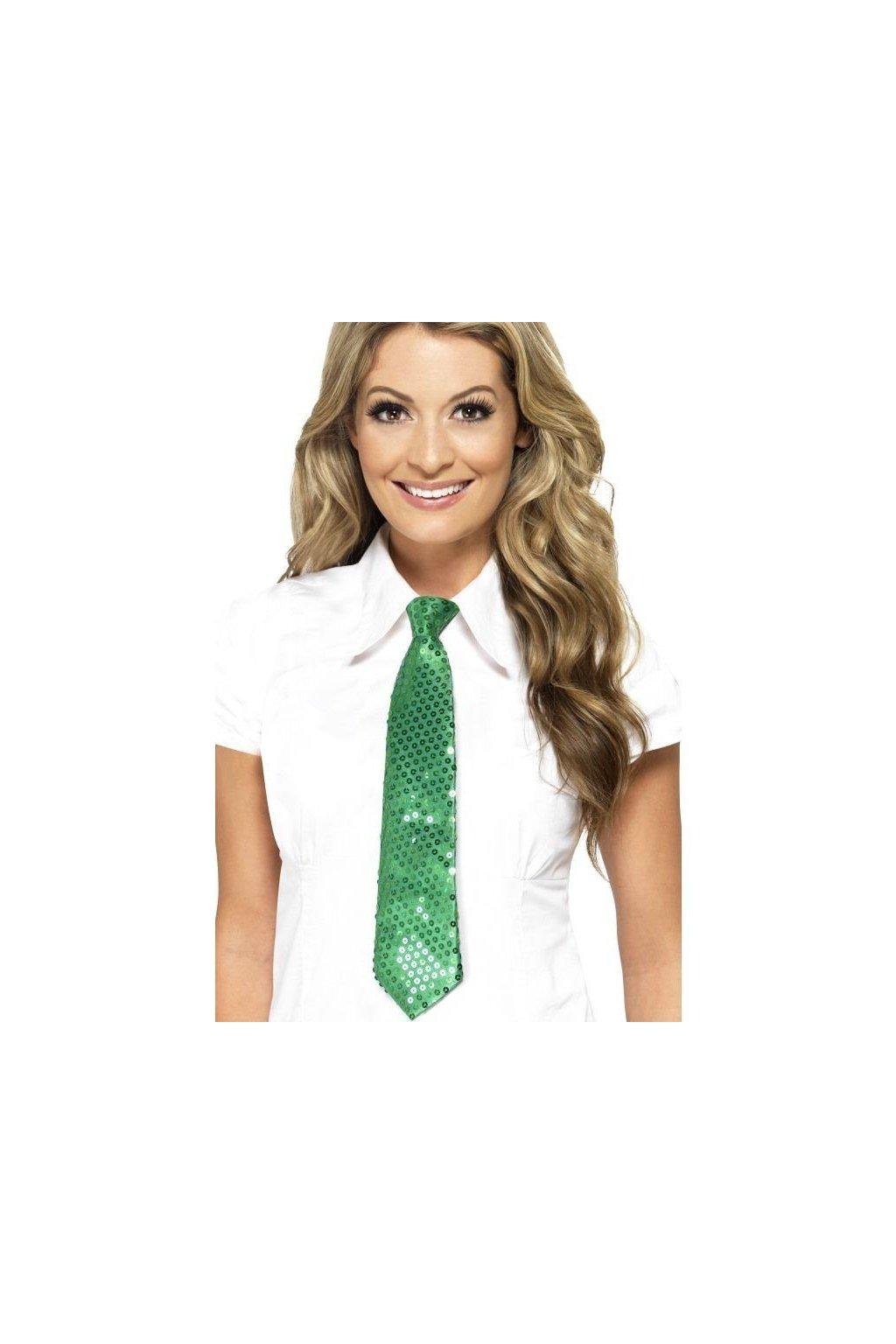 Luxusní flitrovaná kravata - ZELENÁ