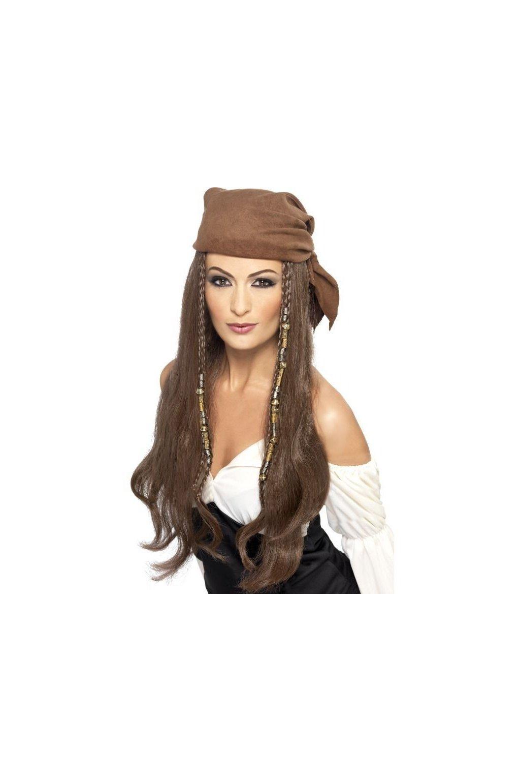 Paruka - Pirátka - hnědá