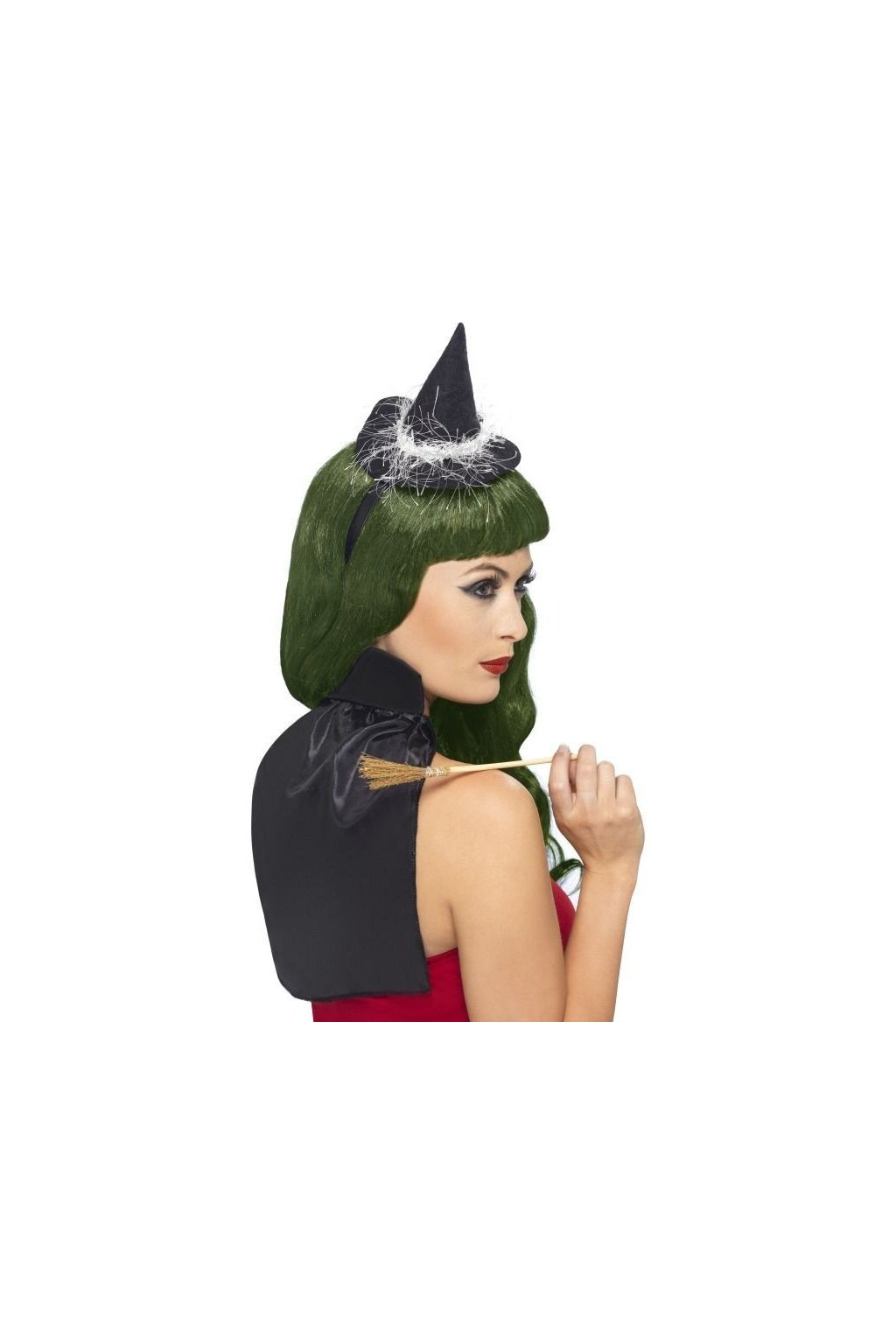 Čarodějnický klobouk, plášť a koště - sada