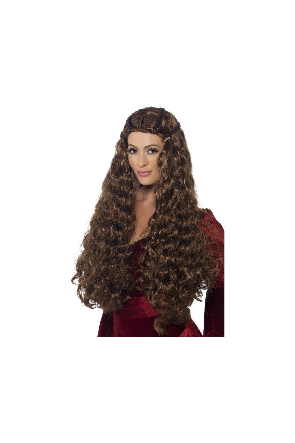 Paruka - Medieval princess - hnědá