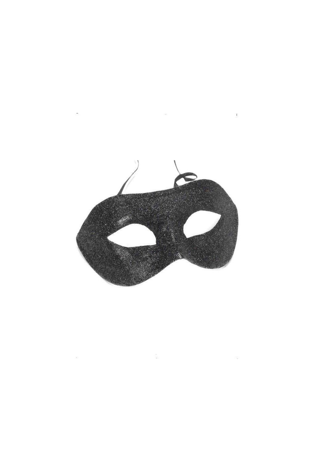 Černá maska - škraboška - Glitter Gino