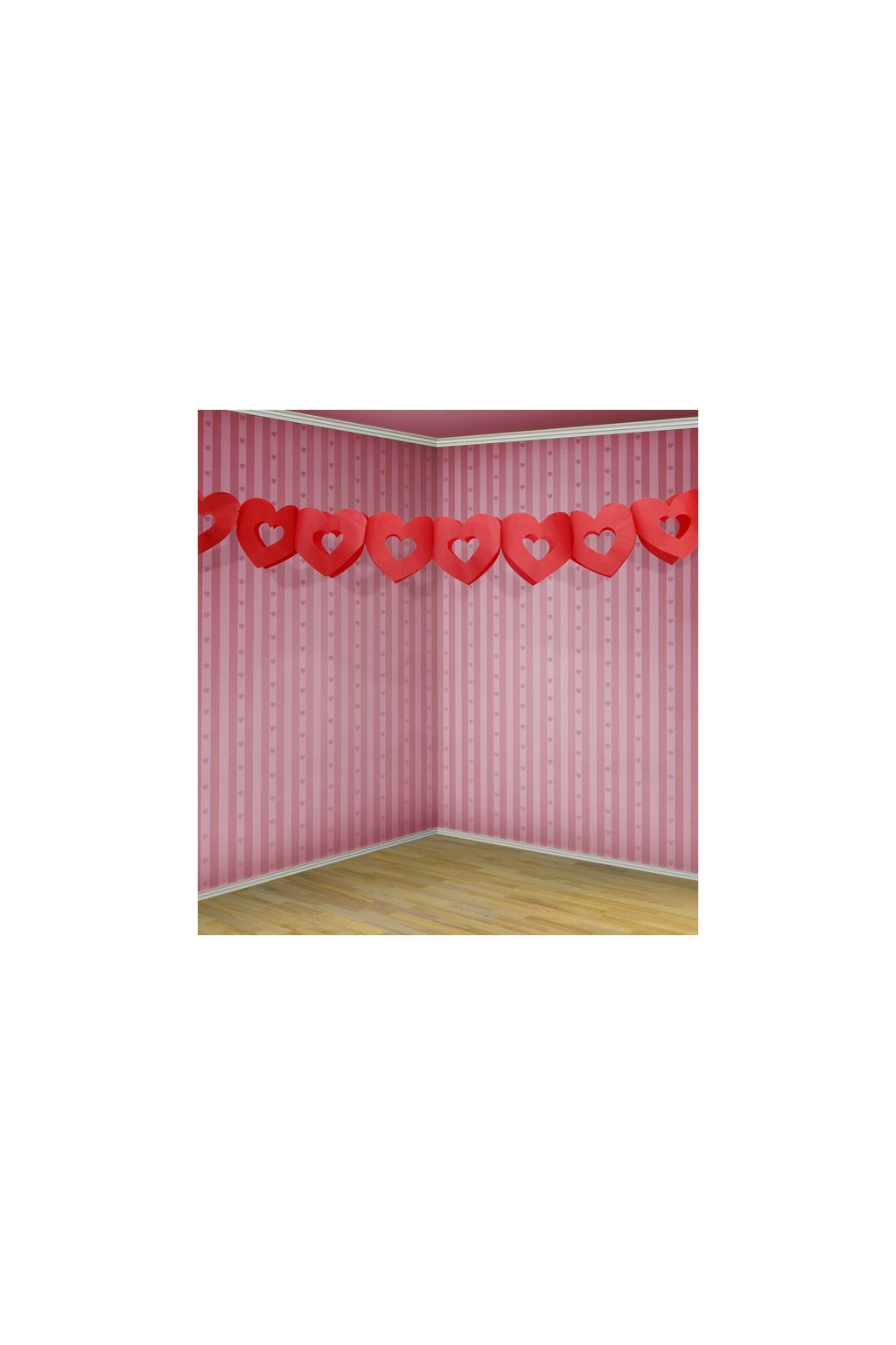 Dekorace - girlanda červené srdce