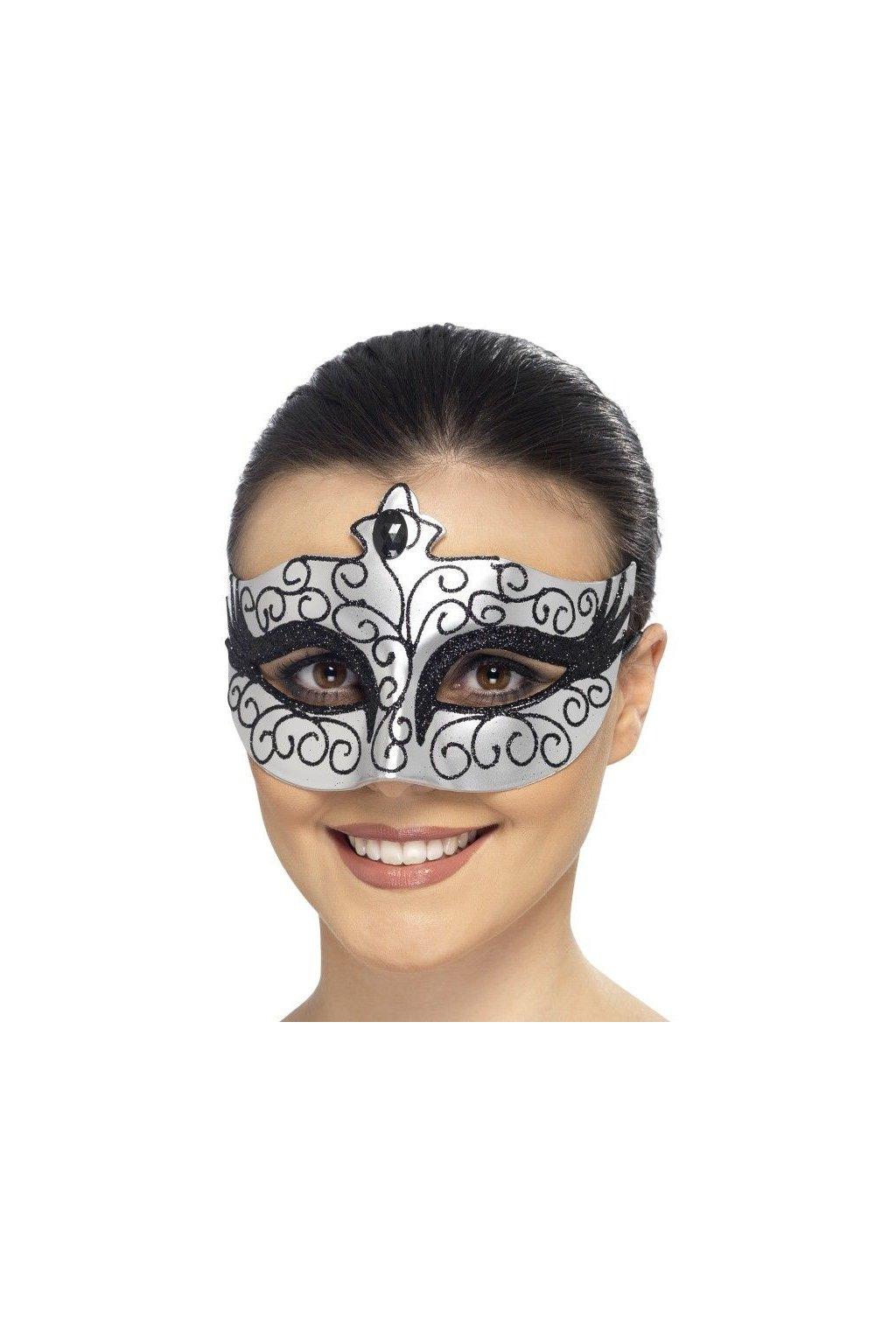Karnevalová maska - stříbrná