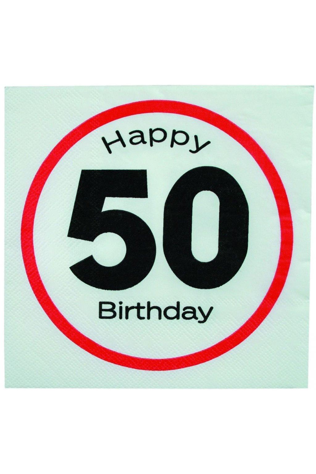 Narozeninové ubrousky - Happy Birthday 50