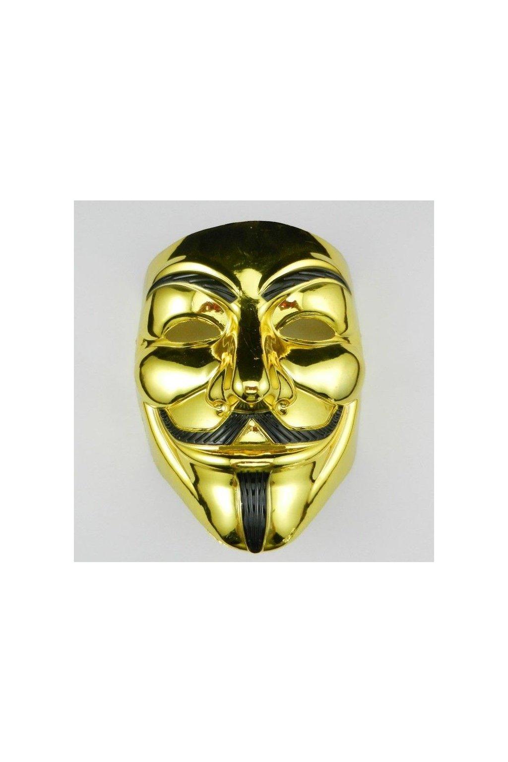 Maska Anonymous/Vendeta - zlatá