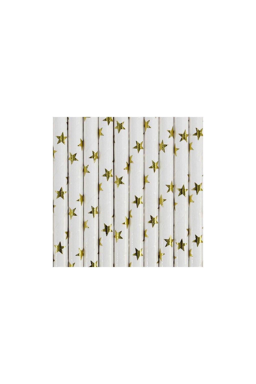 Papírová brčka - zlaté hvězdy - 10ks