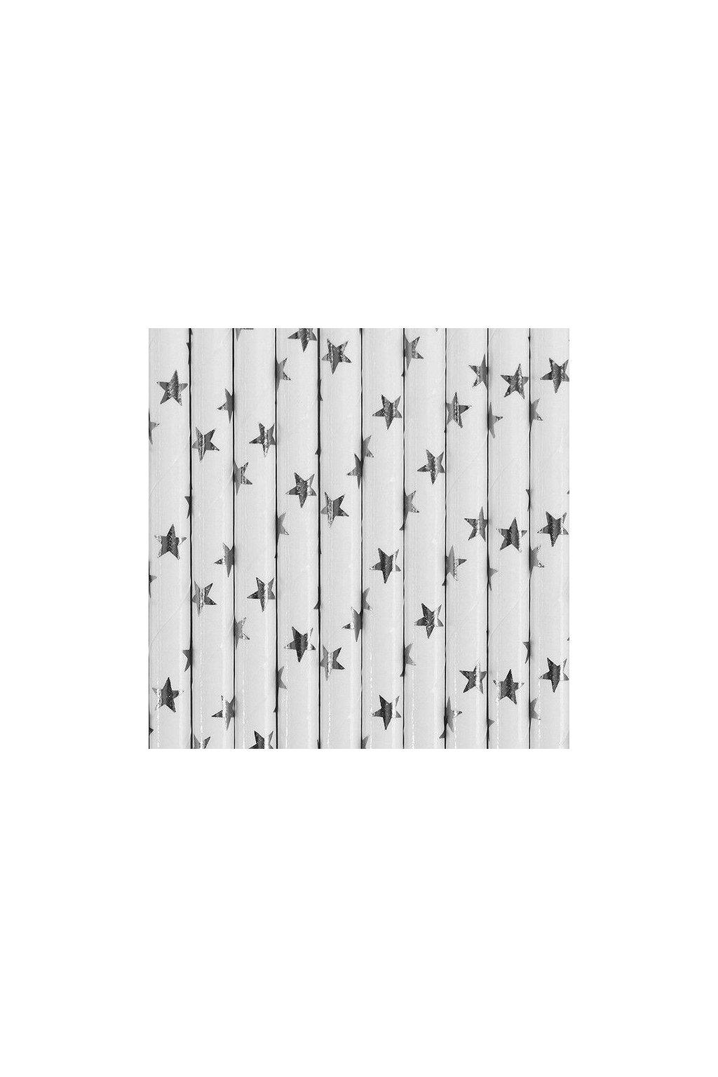 Papírová brčka - stříbrné hvězdy - 10ks