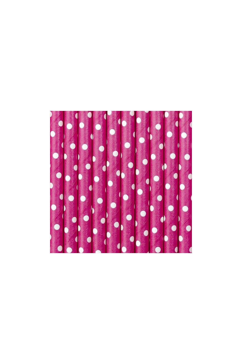 Papírová brčka - růžové s puntíky - 10ks