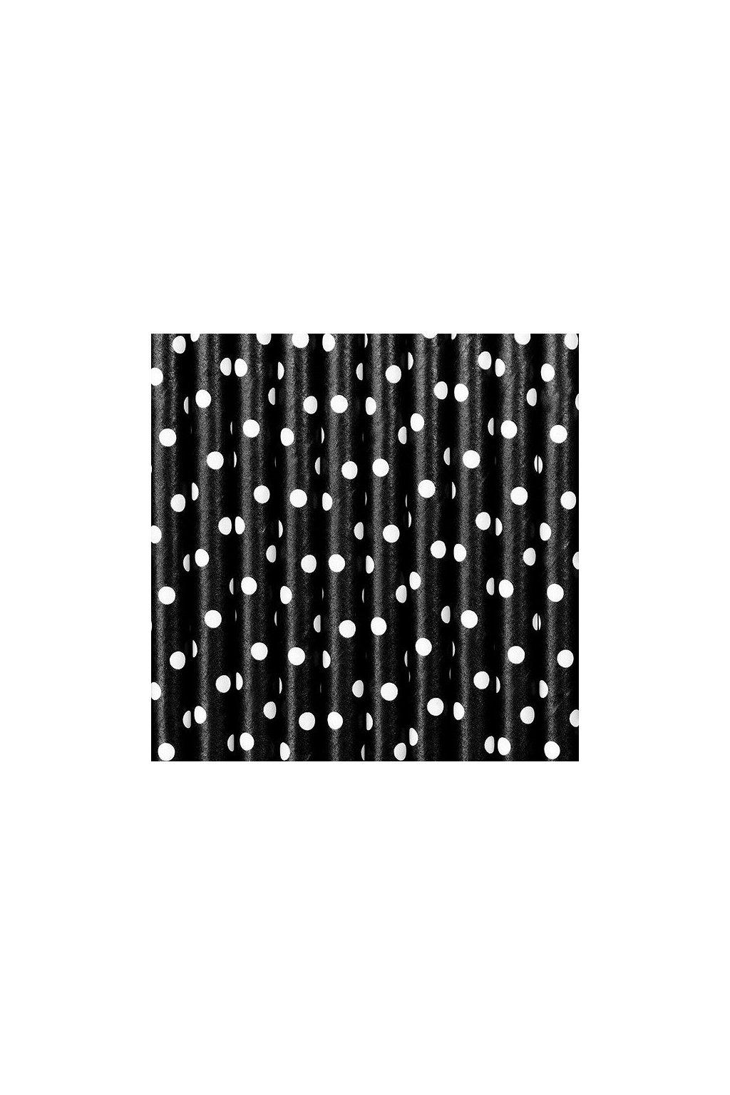 Papírová brčka - černé s puntíky - 10ks