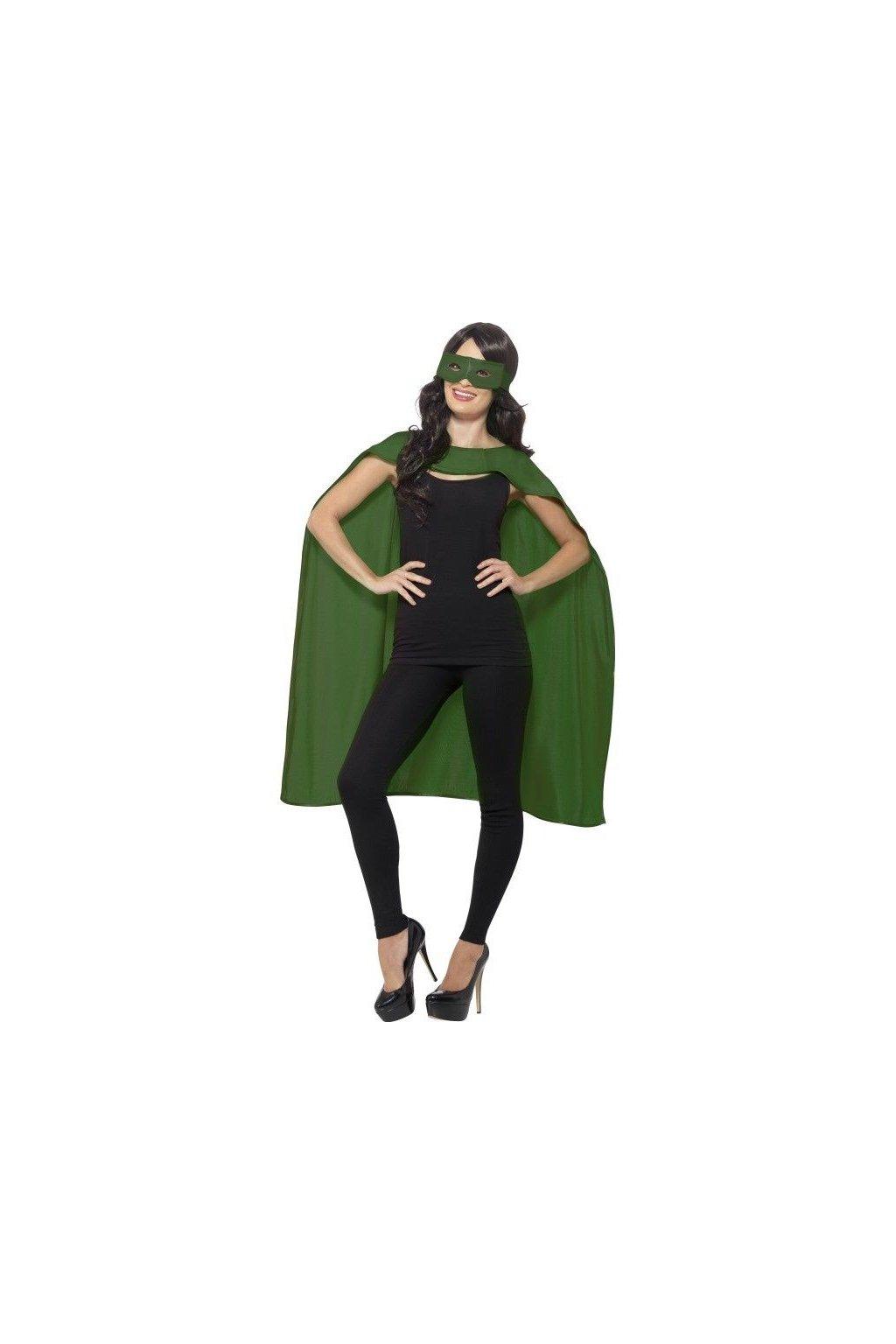 Zelený plášť s maskou