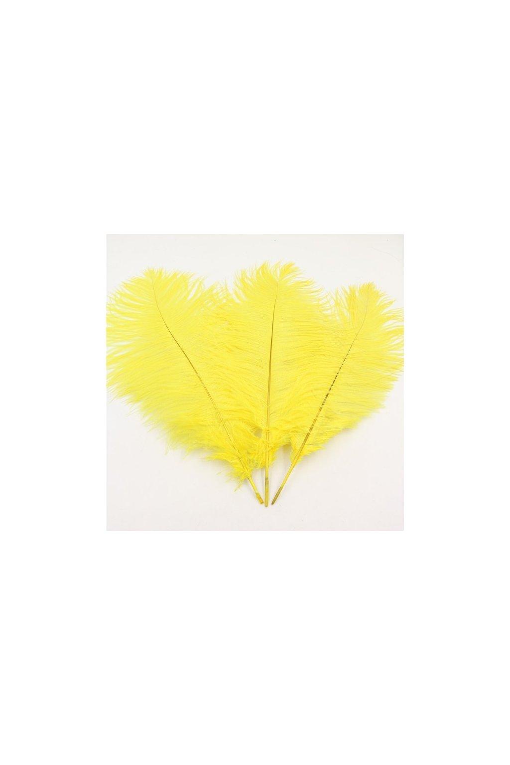 Pštrosí peří 25 cm - žluté
