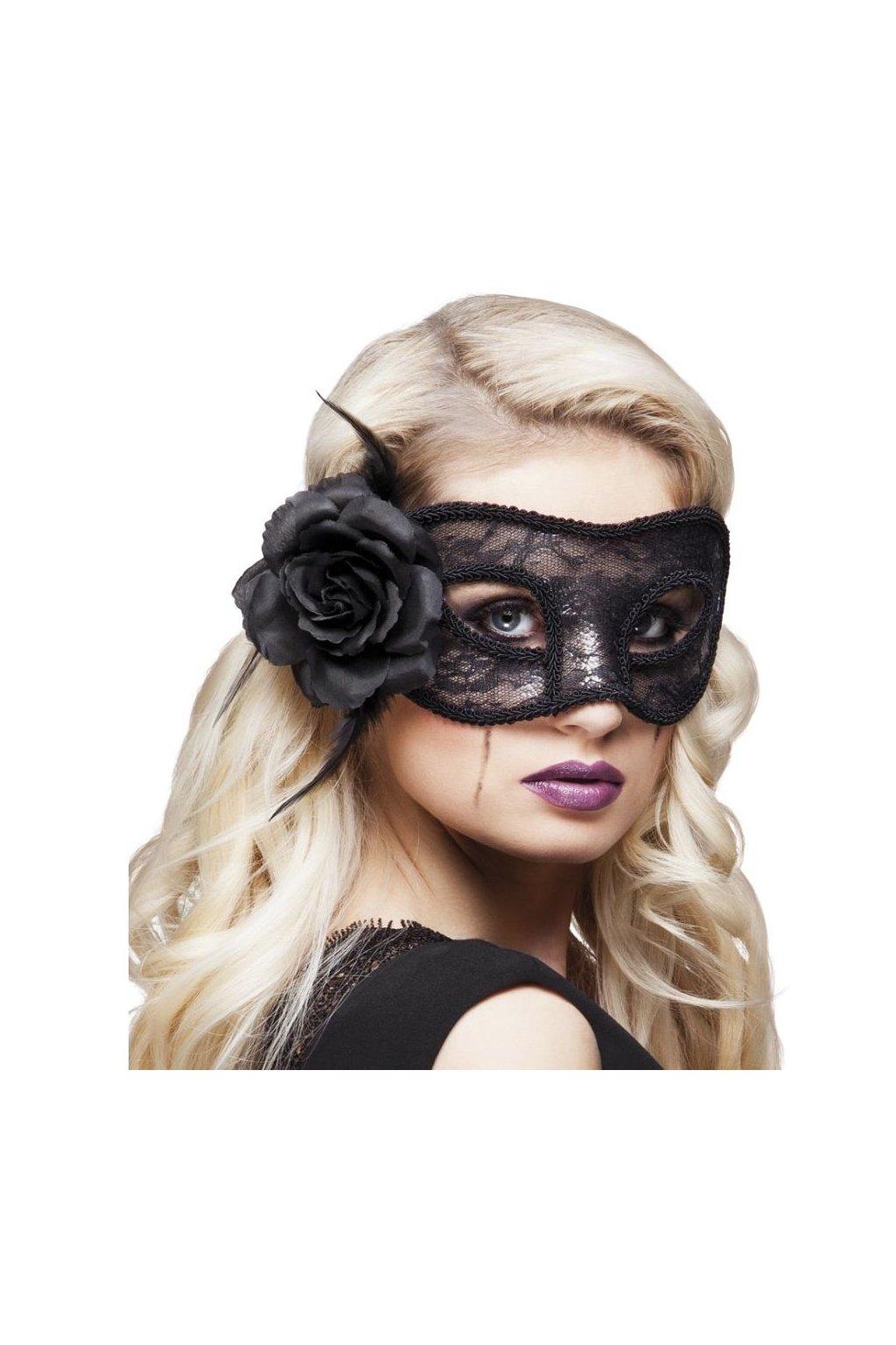 Krajková maska s růží - černá
