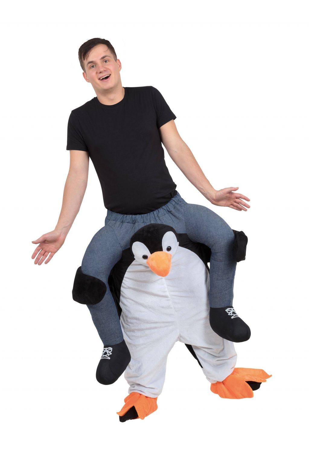 Kostým vtipného tučňáka - piggyback