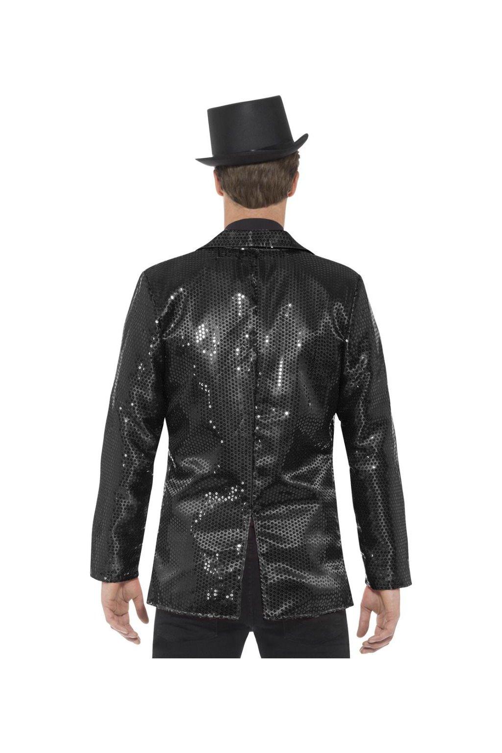 Flitrované pánské sako - černé