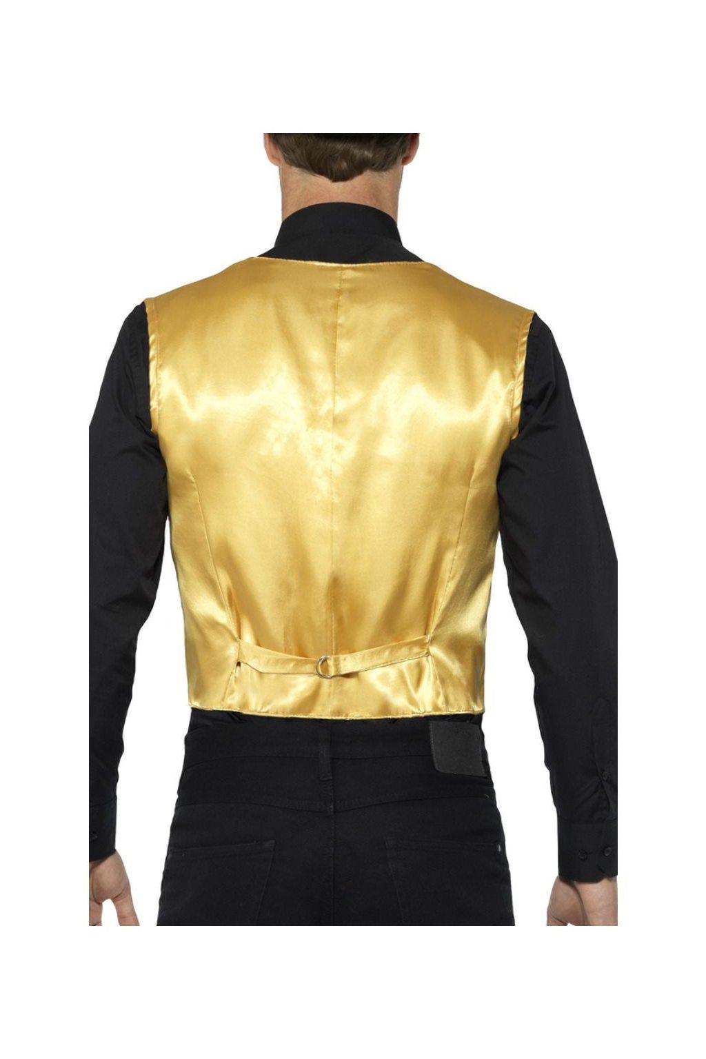 Flitrovaná pánská vesta - zlatá