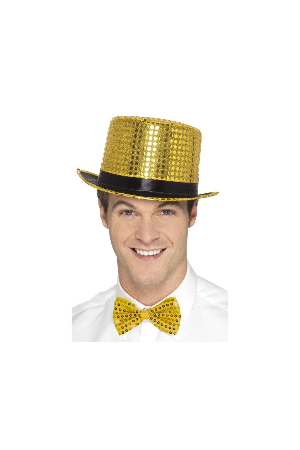 Zlatý flitrovaný klobouk