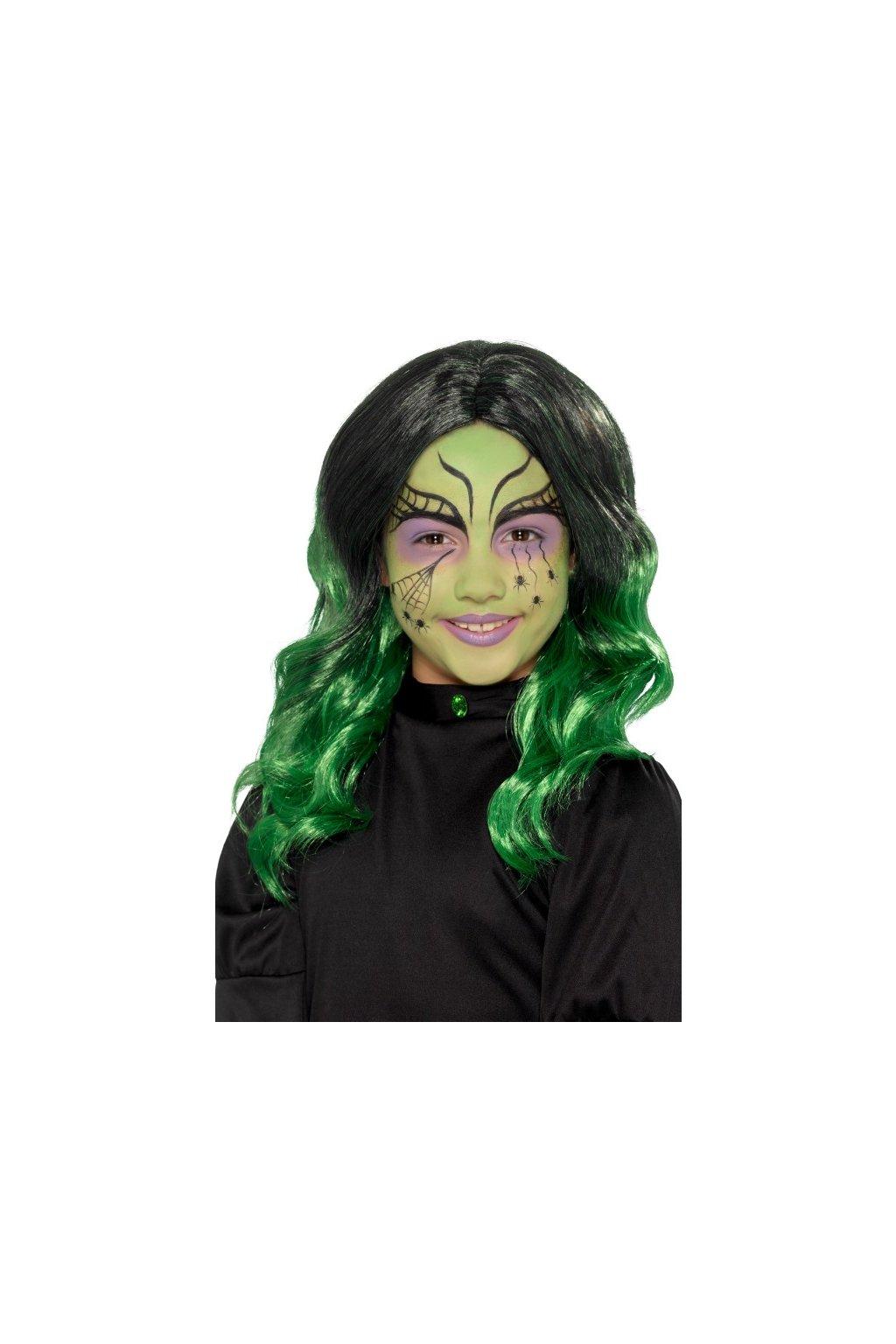 Dětská paruka - čarodějnice zelená