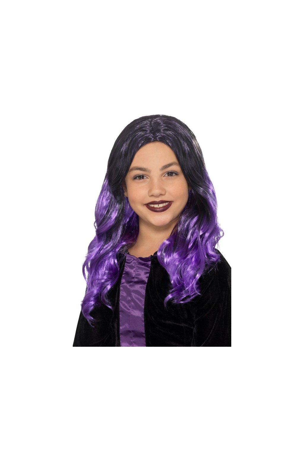 Dětská paruka - fialová čarodějka