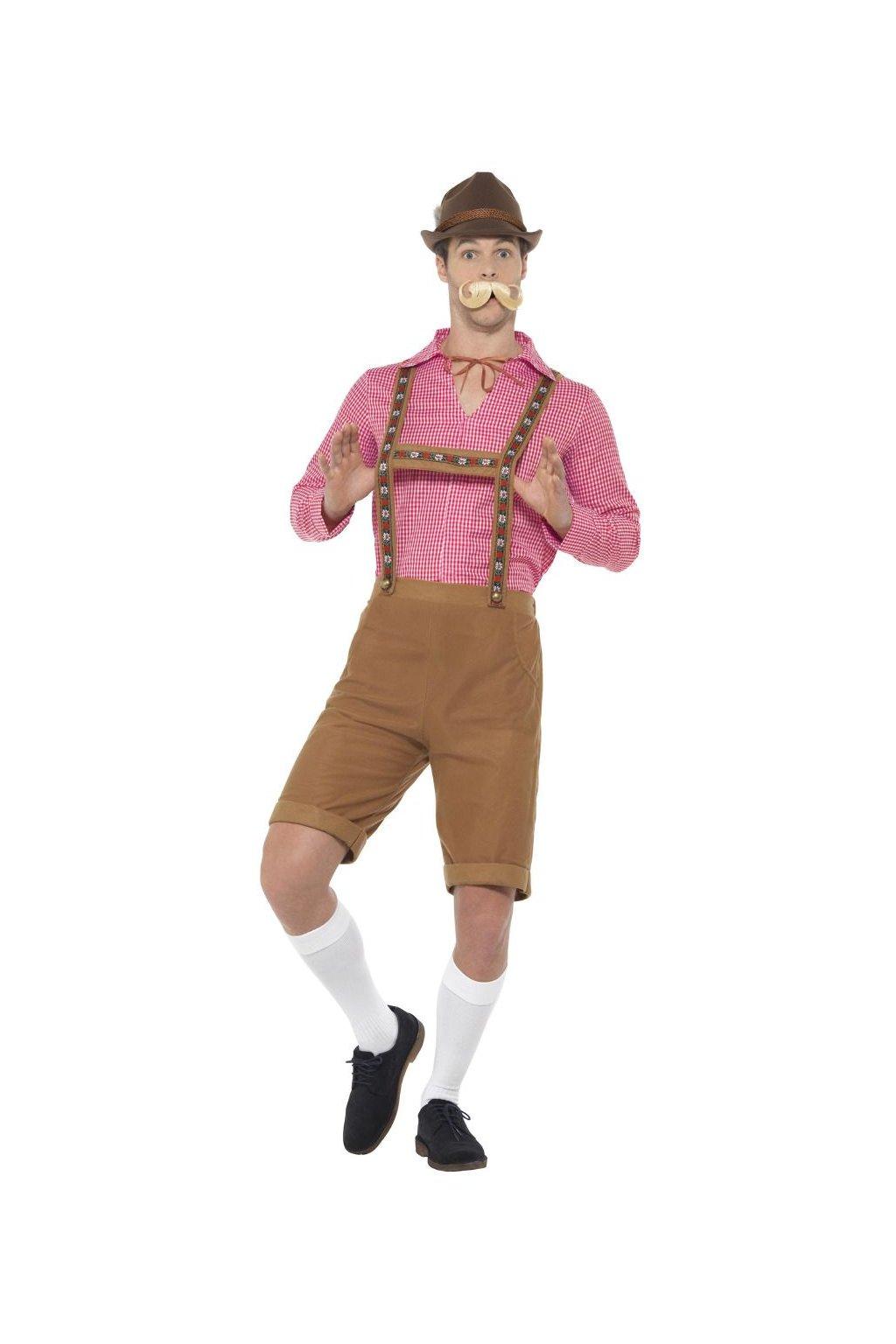 Pánský kostým bavorák červený - Oktoberfest
